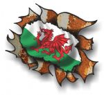Ripped Torn Metal Rusty Design With Wales Welsh CYMRU Flag External Vinyl Car Sticker 105x130mm